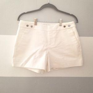 Elle White Polished Shorts